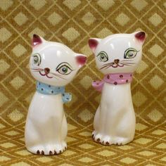 Vintage Salt Pepper  Shaker Set Adorable Cat by TickTockTreasures, $18.00