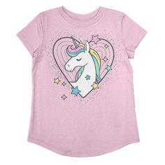 She's sure to shine in this girls' Jumping Beans glittery unicorn graphic tee. Unicorn Graphic, Unicorn Print, Girls Bows, Girls 4, Real Baby Dolls, Kids Nightwear, Unicorn Fashion, Kids Tops, Little Girl Outfits