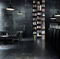 Remodel your manly living space with inspiration from over 50 of the best masculine man cave ideas. Discover interior design that's modern and respectable. Diy Design, Beton Design, Home Design, Design Ideas, Floor Design, Dark Interiors, Industrial Interiors, Industrial Design, Industrial Style