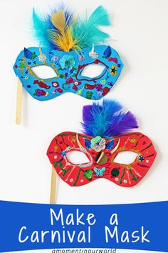 One of the biggest festivals in Rio, Brazil is the Carnival. So, let's get creative and make a Carnival Mask! Let your kids decorate these masks with lots of fun and colourful supplies! To make these bright and colourful Carnival Masks, you will need: Pri Diy Carnival, Brazil Carnival, Carnival Masks, Carnival Crafts Kids, Carnival Activities, Carnival Supplies, Carnival Booths, School Carnival, Kids Crafts