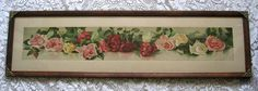 c1891 Roses Yard Long Print Virginia Janus Chromolithograph Rose Flower Original Frame Glass