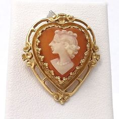 ART DECO 14K YELLOW GOLD CARVED SHELL CAMEO HEART SHAPED CHARM PENDANT 3.7Gr