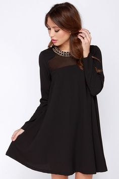City to City Black Long Sleeve Shift Dress at Lulus.com! Add jollywallet to 207d3610f