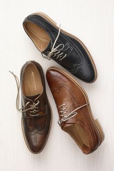 Johnston & Murphy Hannigan Wingtip: Fine Italian footwear, highly burnished brush-off finishes create a richly shaded, two-tone effect.