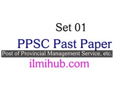 Solved PPSC Past Paper for the Post of Provincial Management Service etc | Set 01