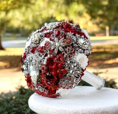 Ruby Red Wedding Brooch Bouquet. Deposit on made by annasinclair