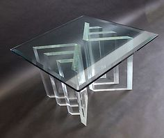Mid Century Modern Charles Hollis Jones Coffee Table Lucite Base Glass Top