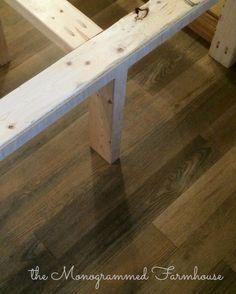 the Monogrammed Farmhouse: Camper Renovation Progress! new flooring and bedframe
