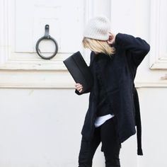 black coat with raw