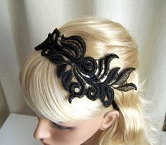 Delphinium black lace headband by StitchFromTheHeart on Etsy - StyleSays