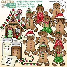 Gingerbread Cookies & Milk Clip Art by Glitter Meets Glue Designs #christmas #gingerbreadman