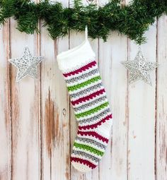 Add some Christmas cheer to your mantle with this free crochet Christmas stocking pattern. The stunning stripped design can be easily made in only two days.