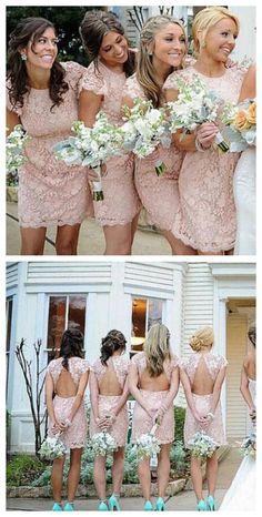 Lace Bridesmaid Dresses,Sexy Bridesmaid Dress,Sheath Crew Neck Bridesmaid Dress,Mini Pink Bridesmaid Dress,Cap Sleeves Bridesmaid Dress