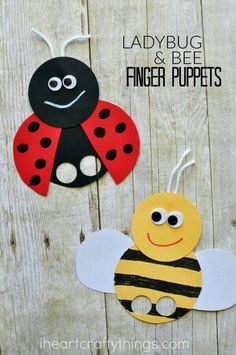 These super cute bee and ladybug finger puppets are perfect . - DIY ideas - These super cute bee and ladybug finger puppets are perfect … - Kids Crafts, Summer Crafts For Kids, Spring Crafts, Toddler Crafts, Preschool Crafts, Diy For Kids, Diy And Crafts, Arts And Crafts, Summer Kids