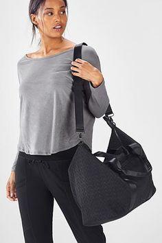Fabletics Bags The Destination Duffel Womens Black One Size Fits Most Duffel Bag, No Equipment Workout, Yoga Pants, Shoulder Strap, Shoe Bag, Clothes For Women, Fitness, Bags, Accessories