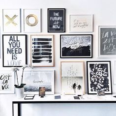 Adore this. Quote inspiration - making it all tie together. Black and White and Gold Bedroom Wall Designs, Bedroom Decor, Master Bedroom, Tumblr Wall Decor, Deco Design, New Wall, My New Room, Home Interior, Interiores Design