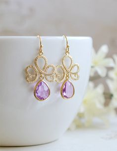 Matte Gold Textured Swirly Filigree Lavender Glass Drop Earrings. Gold Framed Faceted Lavender Teardrop Jewel Earrings. Bridesmaid Earrings