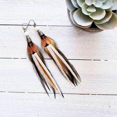 Feather earrings/ boho earrings/ western earrings/ statement earrings/ boho gifts/ olive earrings/ s Feather Earrings, Beaded Earrings, Statement Earrings, Tassel Necklace, Jewelry Ideas, Diy Jewelry, Western Earrings, Mustard, Gifts For Her