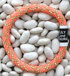 Matte Neon Orange Coral Chain Link - Lily and Laura Bracelets