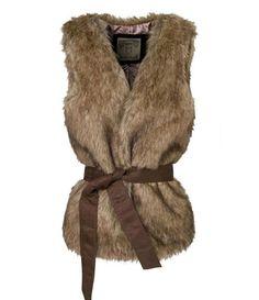 New Women Winter Fashion Brown Warm Faux Fur Long Vest Jacket Coat + Belt