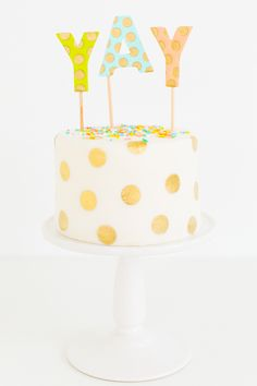 DIY: Edible-Gold Polka-Dot Cake