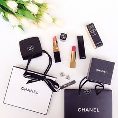 #flatlay #chanel love the flowers and lipstick combo