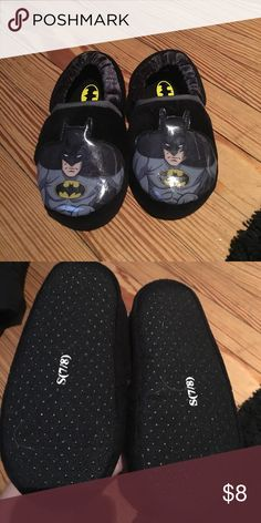 Size 7/8 batman slippers Basically brand new size7/8 batman slippers, my son is very picky about slippers so he never wore these. Smoke free home, make me an offer and don't forget to bundle. Other