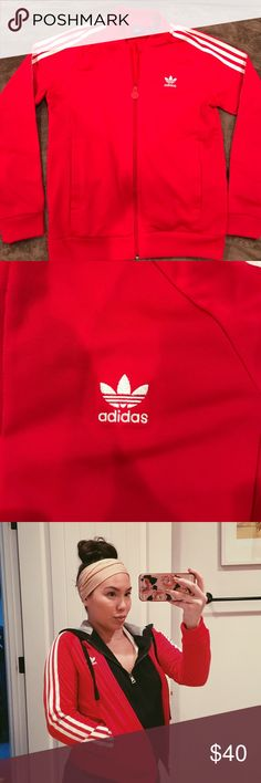 Red adidas track jacket Youth size medium, fits like a womens XS. Adidas Jackets & Coats
