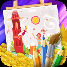 Cover art Games For Kids, Android Apps, Google Play, Cover Art, Coloring Books, Fairy Tales, Games For Children, Vintage Coloring Books, Fairytale