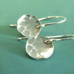 Sterling Silver Hammered Earrings  Tiny Pool Earrings by esdesigns, $20.00