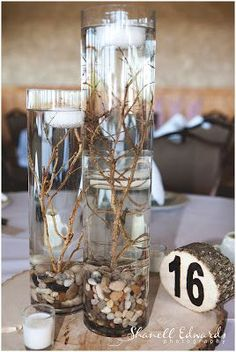 DIY Centerpieces – Glass cylinders (3 diff sizes), twigs of your choice (let dry out before using) rocks on the bottom. Tie twigs to a washer to hold down in the water. Top with a floating candle. The glass magnify's the branches and it looks amazing!  | followpics.co
