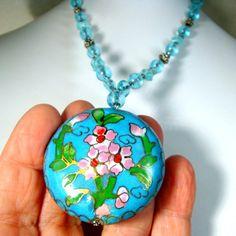 Turquoise Cloisonne Pendant on Aqua Glass by VintageStarrBeads