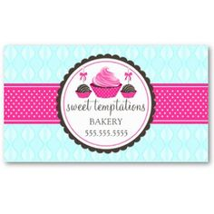 Business Card Showcase by Socialite Designs: Cupcake and Cake Pops Bakery Business Cards