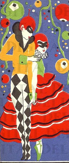 Art Deco New Years Bridge Tally.Harlequin and Columbine Vintage Ephemera, Retro Vintage, Art Deco Cards, Spring Images, Masquerades, Vintage Typography, Art Deco Era, Boom Boom, Costume Design