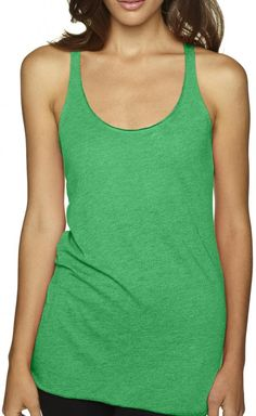 """Yoga Clothing For You Ladies Tri-Blend Racerback Tank Top, Medium Envy Green. Rock one of our hottest styles, the tri-blend racerback tank, and get ready for the supreme softness - and attention - that comes with it. 50% polyester - 25% ring-spun combed cotton - 25% rayon. Satin label. """"Yoga Clothing for You"""" guarantees your satisfaction on every purchase!."""