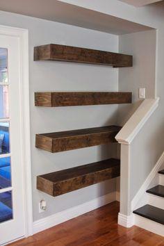 Simple DIY: Floating Shelves Tutorial + Decor Ideas - Home decor - Shelves Dining Room Shelves, Home Decor Shelves, Fireplace Shelves, Diy Wall Shelves, Floating Shelves Diy, Built In Shelves, Diy Home Decor, Basement Fireplace, Easy Diy