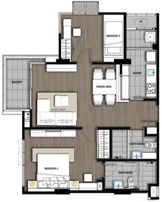 ต่อมาเป็นห้องแบบ 2 Bedrooms ยูนิตที่หันหน้าเข้าหาสระว่ายน้ำที่ทิศใต้ ห้องนี้คิดมาเยอะอีกแล้ว  โดยใช้คอนเซปท์ดีไซน์คล้ายๆกันกับแบบ 1 Bedroom ครับ  ต้องบอกว่าห้อง 2 Bedrooms นี้ทำออกมาได้ดูดีระดับหนึ่งเลย … แต่ผมว่าแบบถัดไป 89 ตารางเมตรทำออกมาได้ดีกว่าอีกครับ