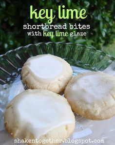 key lime shortbread bites with key lime glaze. If it's anything like my key lime cookies, it's awesome! Key Lime Desserts, Cookie Desserts, Cookie Recipes, Lemon Desserts, Luau Desserts, Dessert Recipes, Spring Desserts, Cookie Favors, Bar Recipes