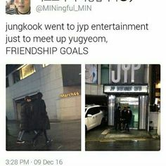 a fan spotted them coming out of the jyp entertainment and went to play bowling i cant believe both of my bias are best friends * * was actually supposed to post this yesterday but i slept i was on a yoongi mode, lmao what? Bts Jungkook, Kpop Memes, Bulletproof Boy Scouts, Bts Bulletproof, E Dawn, Yugyeom, Rap Monster, Bts Boys, Jung Hoseok