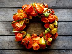 HALLOWEEN WREATH - Dried Orange Chinese Lantern Wreath - Fall Decoration…