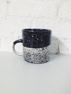 Halvsies Speckled Mug - Black by BTW Ceramics   Fiercely Made - Handcrafted in Brooklyn, NY