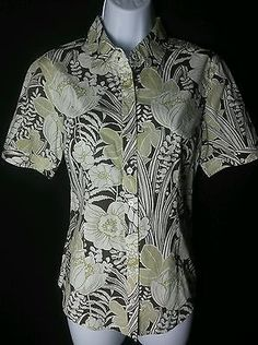 Tommy Bahama NEW 100% Cotton Short Sleeve Button Down Blouse Ladies 6
