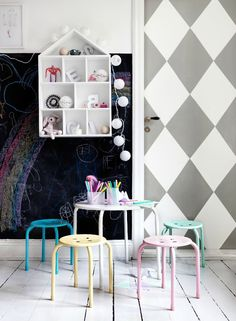 Kids playroom is often fused with kids room to ease parents to supervise their kids. Therefore you need to kids playroom decor appropriate to the age their growth Deco Kids, Deco Design, Kid Spaces, Play Spaces, Kids Decor, Kids Bedroom, Kids Rooms, Chalkboard Paint, Blackboard Wall