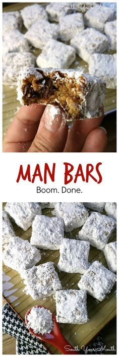 """MAN BARS! """"Crazy easy, unique cookie bars made with graham cracker crumbs and chocolate chips, cut and rolled in powdered sugar."""" 