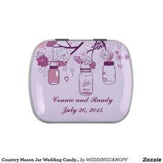 Country Mason Jar Wedding Candy Tin