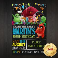 Angry Birds Chalkboard Birthday Invitation Design by jmntparty