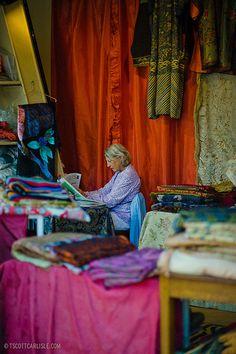 Fabrics at a Paris flea market
