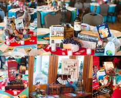 Each table was themed for a travel location on their bucket list! LOVE!  Patsy and Rob | Val Vista Lakes Wedding, Gilbert