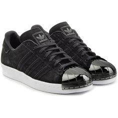 Adidas Originals Suede Superstar Sneakers found on Polyvore featuring shoes, sneakers, black, striped sneakers, suede sneakers, adidas originals trainers, black cap toe shoes and black suede sneakers