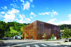Aspen Art Museum // The museum's woven façade of thin, rust-colored boards rises six stories.